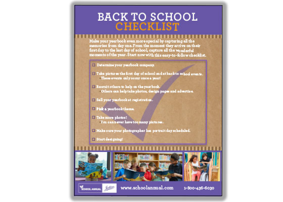 Checklist to make sure you are on schedule for the beginning of the school year
