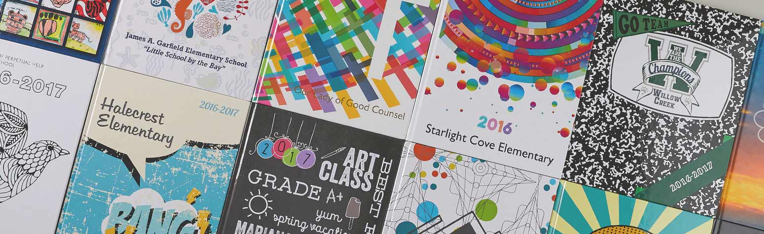 two rows of yearbook covers, elementary yearbook covers, school yearbook covers