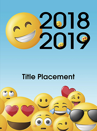 2018-2019 yearbook cover, emoji cover, emoticon cover, emojis, elementary school yearbook