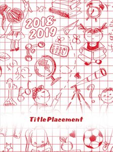 red and white doodle cover, doodle cover, elementary school yearbook, red and white school yearbook cover
