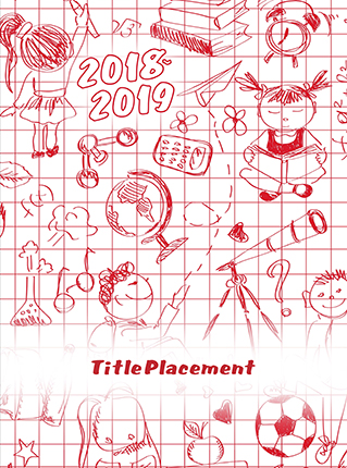 Red and White Grid with Drawings, Yearbook Cover 9008