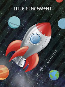 rocket ship, space, outer space, planets, elementary school yearbook