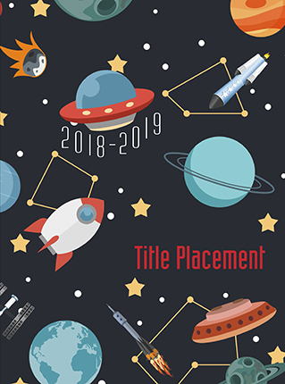 planets, outerspace, galaxy, elementary school yearbook cover