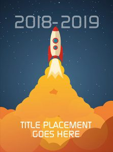 rocketship yearbook cover, space creative design, elementary school yearbook cover