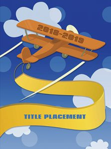 airplane cover, clouds, elementary school cover, yearbook cover