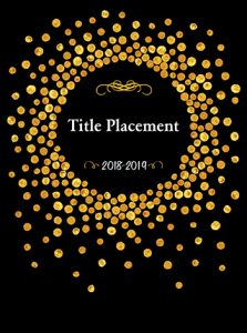black and gold, polka dot cover, elementary school yearbook cover, circle