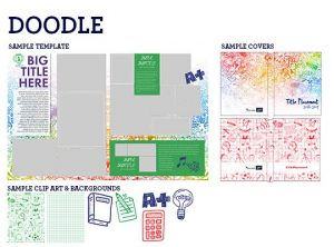 doodle yearbook theme, elementary school yearbook theme, notebook yearbook theme