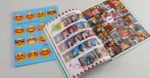 open elementary school yearbook, close yearbook, emoji yearbook cover